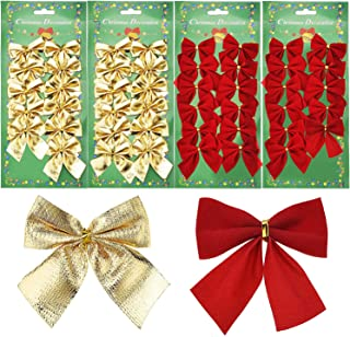 Shappy 48 Pieces Festival Bow Decorations Christmas Ribbon Bows Ornaments for Christmas Wreaths Tree New Year Decoration, Red and Gold (50 mm)