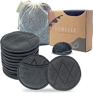 پد های پاک کننده آرایشی قابل استفاده مجدد از Lunelle Charcoal Bamboo 12 Pack - پد های قابل استفاده مجدد صورت با کیسه های لباسشویی پد های پاک کننده آرایشی زغال چوب Konjac Sponge Bamboo - ست های کادویی صورت پنبه ای قابل استفاده مجدد با دوام