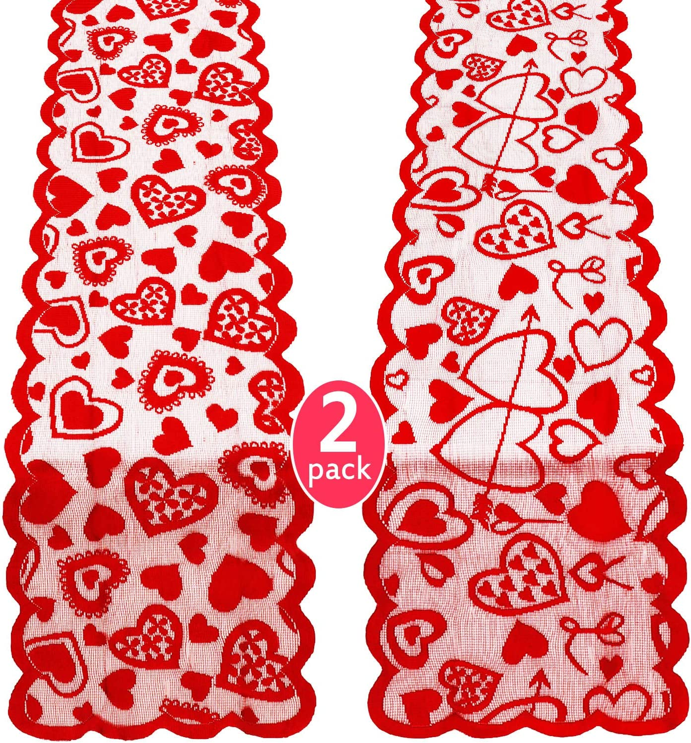 2 Pieces At the price of surprise Valentines Day Table Hearts Lace Limited time sale De Runner