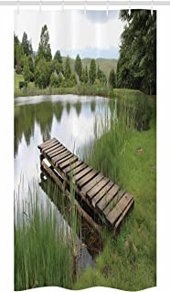 Ambesonne Forest Stall Shower Curtain, Green Landscape Lake Forest Nature on The Wooden Pier Serenity Picture Print, Fabric Bathroom Decor Set with Hooks, 36