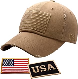 قبعة علم أمريكا للرجال والنساء من أنتوراج | قبعة بيسبول تكتيكية قديمة مع علم الولايات المتحدة الأمريكية + رقعتين وطنيتين