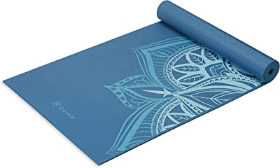 Gaiam Yoga Mat Premium Print Extra Thick Non Slip Exercise & Fitness Mat for All Types of Yoga, Pilates & Floor Exercises, Indigo Point, 6mm