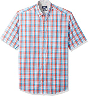 Men's Easy Care Button Down Short Sleeve Shirts, Tangelo...