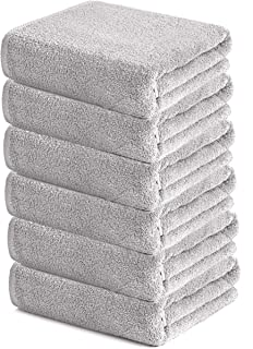 HomeLabels Cotton Soft Spa Bath Towels, Ultra Soft Bath Towel, Home Gym Spa Hotel, Ideal for Daily use Highly Absorbent Hotel spa Bathroom Towel Collection | 22x44 Inch | Set of 6 Silver