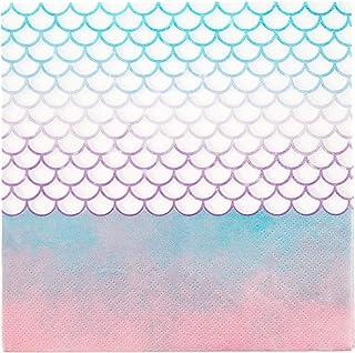 Procos- Servilletas de Sirena, 20 Unidades, Color Rosa, Azul, Blanco. (10067656)