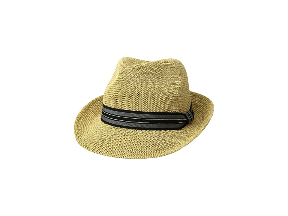 San Diego Hat Company Knitted Paper Fedora w/ Striped Grosgrain (Beige/Junk) Caps