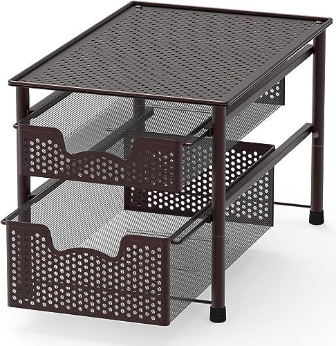 2021 SimpleHouseware Stackable wholesale 2 Tier Sliding Basket high quality Organizer Drawer, Bronze sale