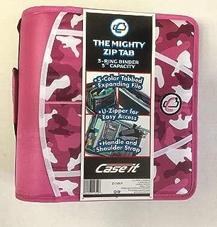 Case-it Mighty Zip Tab 3-Inch Zipper Binder, Pink Camo D-149-P