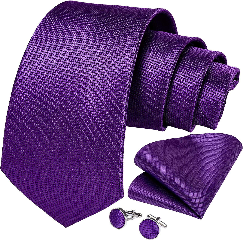 Purple Solid 100% Silk Tie Set For Men Business Necktie Pocket Square Cufflinks Wedding Party Men Accessories Cravat