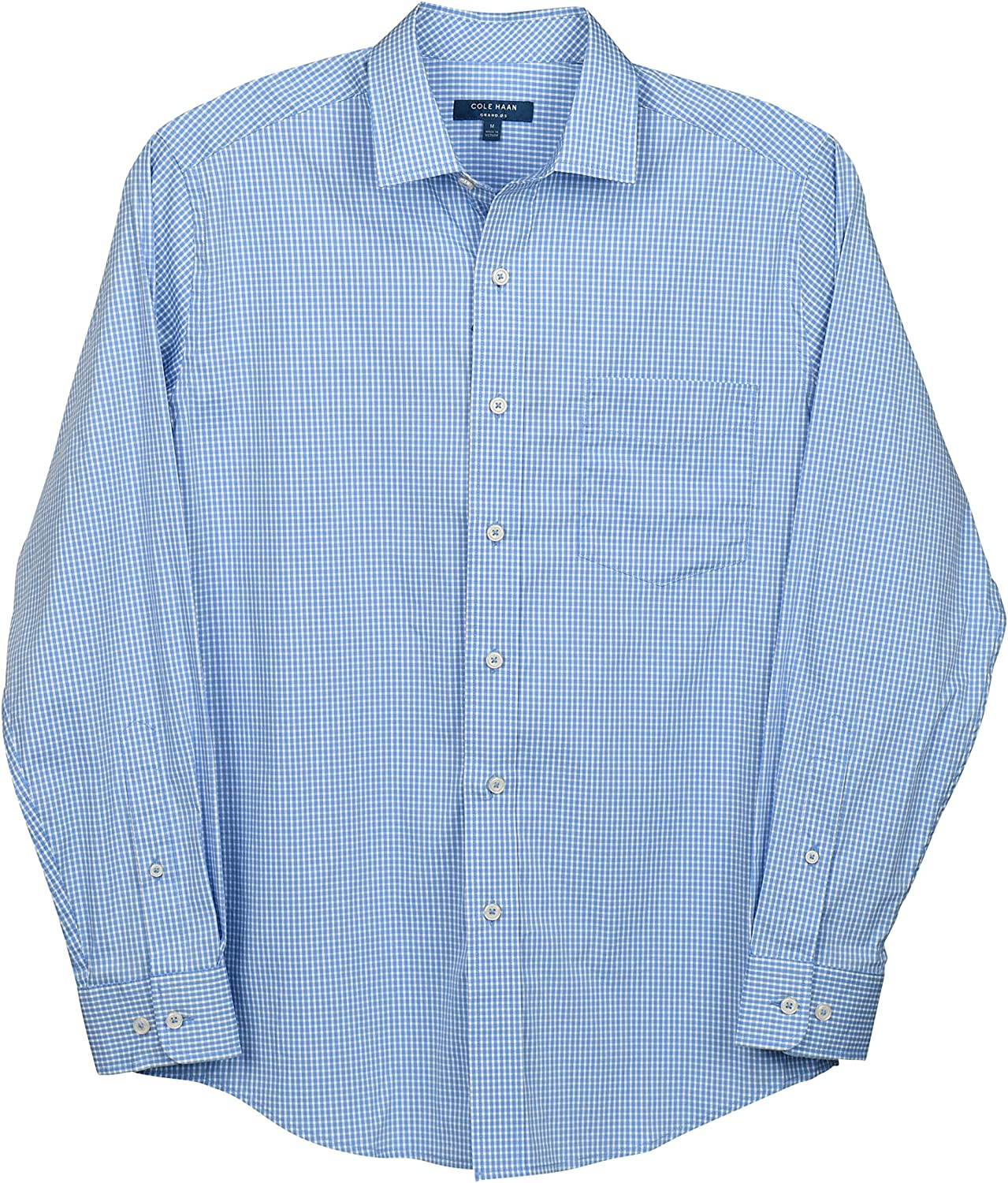 Cole Haan Men's Buttondown Popular Challenge the lowest price standard Long Performance Stretch Gingh Sleeve