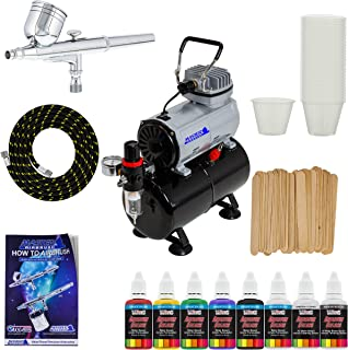 Complete Multi-Purpose Airbrush Kit with G22 Airbrush, Master Compressor TC-20T, Air Hose & 6 Primary US Art Supply Paint Colors, Airbrush Reducer & Cleaner