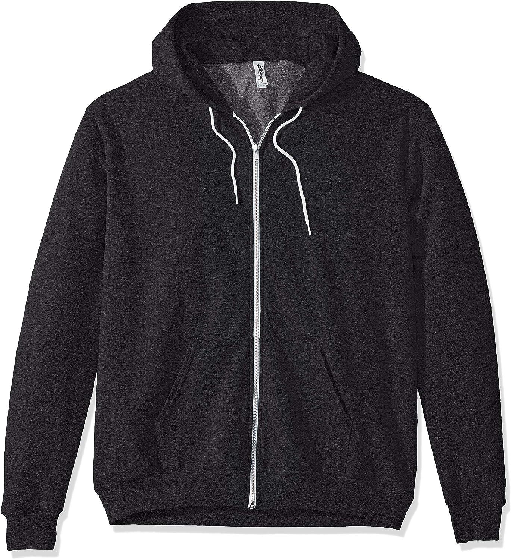 Marky G Apparel Men's Flex Fleece Full-Zip Hooded Sweatshirt Jacket, Dark Heather Gr, 2XL