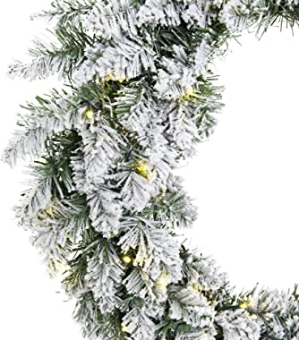 Best Choice Products 24-inch Pre-Lit Indoor Cordless Artificial Snow Flocked Christmas Pine Wreath for Home, Party Décor w/Hi