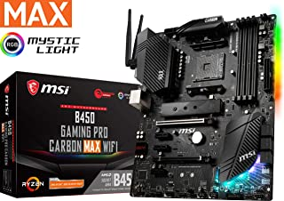 MSI Performance Gaming AMD Ryzen 1st, 2nd, and 3rd Gen AM4 M.2 USB 3.2 Gen 2 DDR4 HDMI Display Port Wi-Fi ATX Motherboard (B450 Gaming PRO Carbon MAX WiFi)