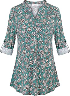 Sixother 3/4 Roll Sleeve V Neck Button Down Blouse Loose Casual Floral Tunic Top