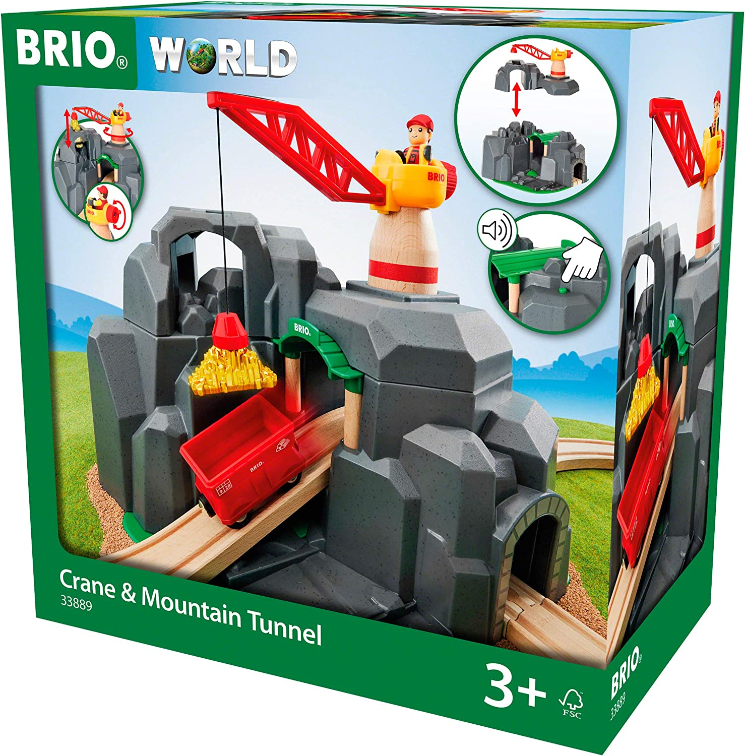 Brio Crane & Mountain Tunnel Wooden Toy Train Set for Kids Ages 3 Years and Up  Made with European Beech Wood and Works with All Wooden Railway Sets