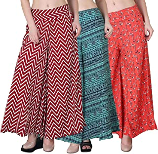 Fablab Women's/Girl's Printed Crepe A-Line wide leg divider Palazzo Trousers with Pocket & Inner Lining Combo Pack of 3(FLPLCRP3-6,Red ZigZag,Green Print,Duck Print,Size-XL)