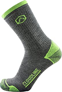 CloudLine Merino Wool Hiking & Trekking Crew Socks - Light Cushion - For Men & Women