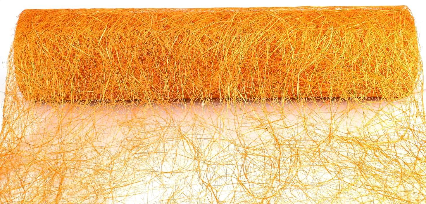 Kel-Toy Abaca Scrunch Fabric Roll, 19-Inch by 10-Yard, Orange