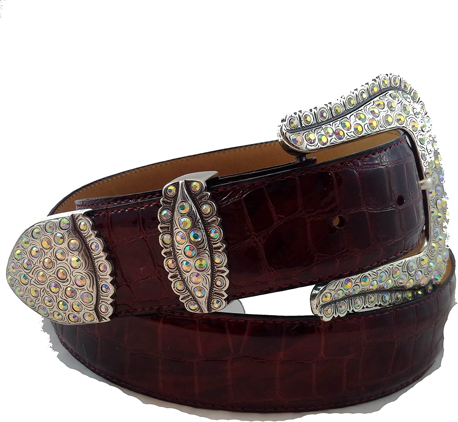 Financial Safety and trust sales sale Burgundy Patint leather gator print with bling silver and buckle