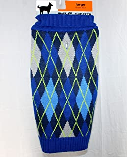 Blue Green & Gray Argyle Dog Sweater Knit Turtle Neck - Large by Walmart