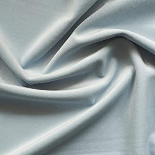 Solid Drapery/Upholstery Soft Velvet Fabric Color Sky Blue by The Yard