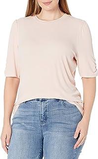 Daily Ritual Camiseta de Manga Corta de rayón y Elastano, con Cuello Cerrado, canalé finito Camisa para Mujer