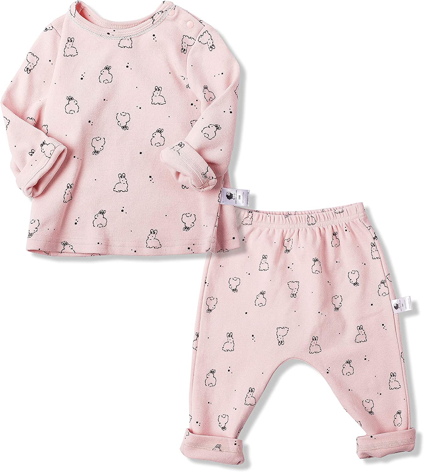 COTTON FAIRY Baby Girls Clothes Set 2-Piece Playwear Set Long-Sleeve Shirts and Pants