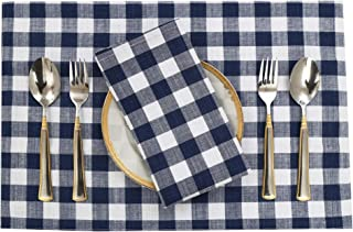 """Ruvanti Placemats for Dinning Table .100% Cotton Woven (13x19 """") Placemats Set of 6 Buffalo Check Blue & White Plaid Design Farmhouse Tablemats for Dinner Parties, Indoor and Outdoor Picnics."""