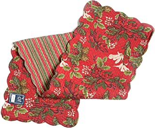 Quilted Reversible 100% Cotton Table Runner 14 By 51 Inches Poinsettia and Pinecones