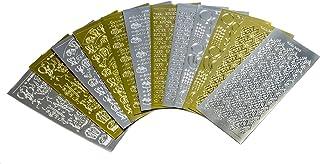 Doodey Anniversaire Patte de Stickers pour la création de Cartes et Le Scrapbooking en 6Designs, doré/argenté, Lot de 12