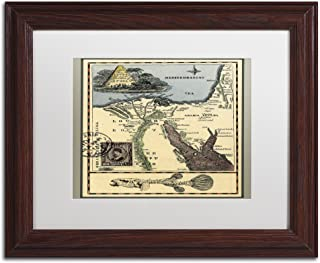 Egypt Map by Nick Bantock, White Matte, Wood Frame 11x14-Inch
