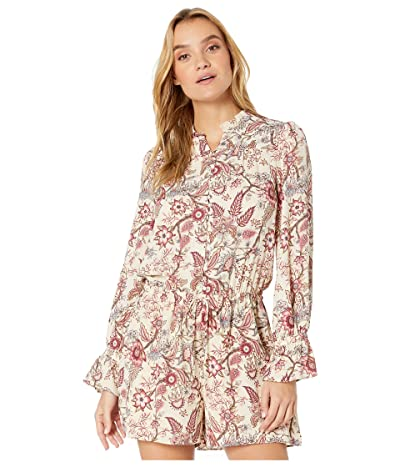 BCBGMAXAZRIA Printed Long Sleeve Romper (Antique White/Floral Toile) Women