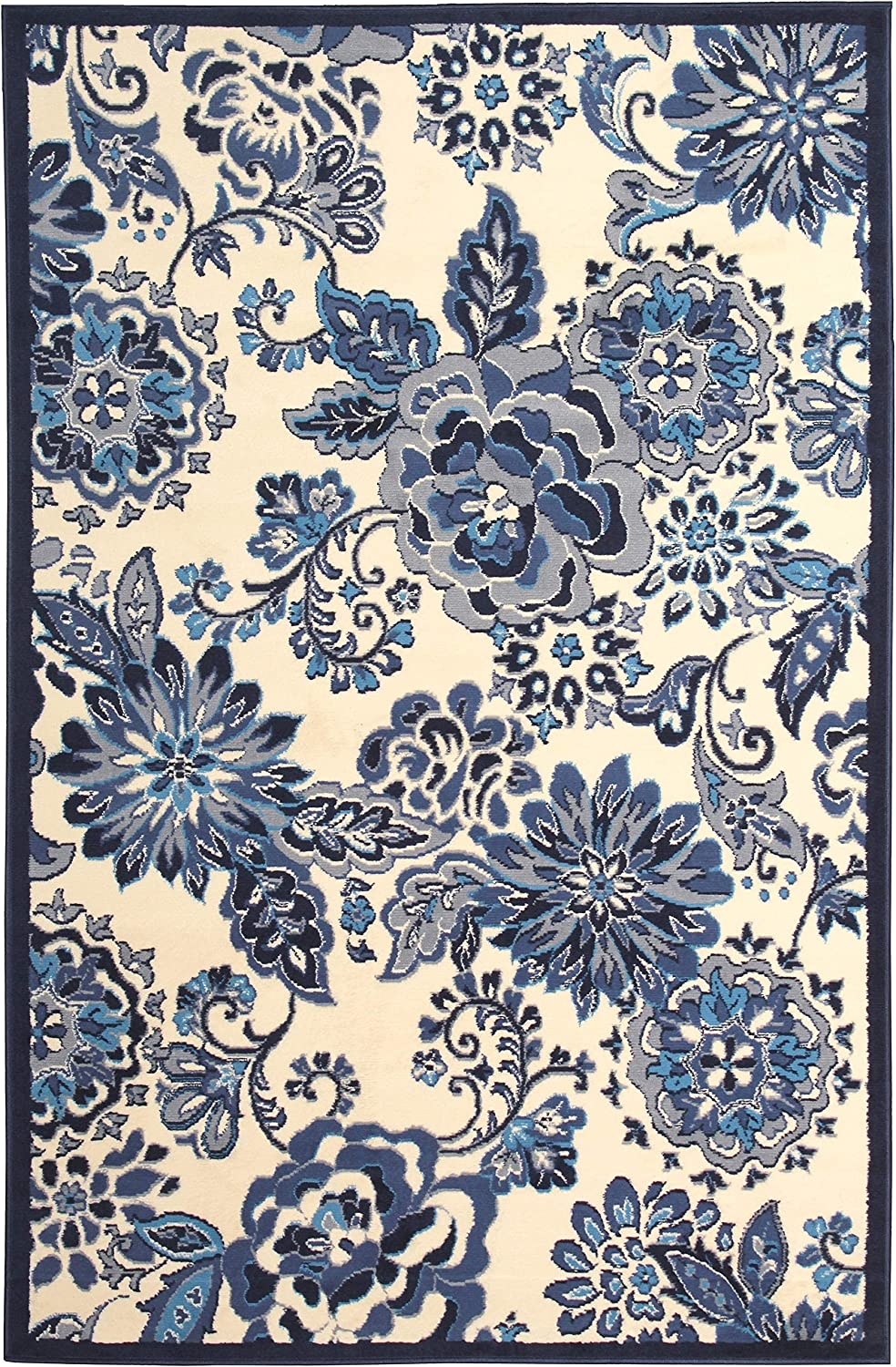 excellence MISC Home Off White 8'x10' Ranking TOP5 Rug 10' Botanic Floral 8' X -