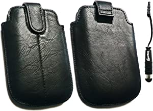 Emartbuy ® Stylus Pack Para Nokia Asha 302 Negro Pu De Diapositivas De Cuero Asegurado En + Funda / Caja / Manga / Soporte (Tamaño Grande) Con Mecanismo De Lengüeta Metálica Mini Negro Stylus + Protector De Pantalla De Cristal Líquido