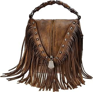 ZLYC Women's Leather Bamboo Hand Strap Featured Fringe Bohemian Tassel Studed Cross Body Bag