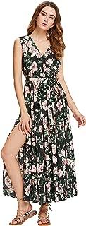 Women's Floral Print V Neck Self Tie Waist Long Sleeve Wrap Long Maxi Dress