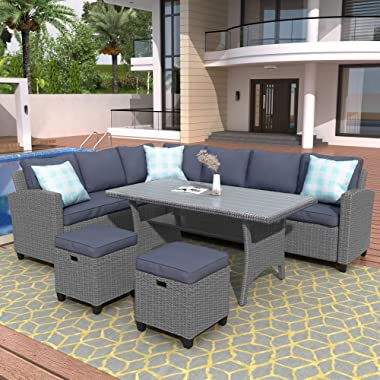 Merax Patio Dining Sets, Outdoor Conversation Set All Weather Wicker Rattan Sectional Sofa Dining Table Chairs Set with 2 Ott