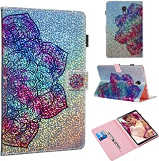 Folice Case for Samsung Galaxy Tab A 10.5 Case 2018(SM-T590/T595/T597), Glitter Bling Kickstand Leather with Magnetic Closure Cover (Datura Flower)