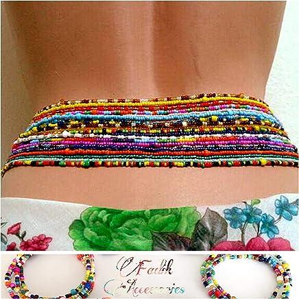2 Piece Waist Beads Set, Belly bead, Choose Color Waist Bead. African Waist Beads, Body Chain, Beaded Belly Chain, Waist chain, Stretchy Elastic String, Summer Jewelry, Bikini Jewelry