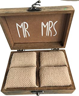 Elegant Blooms & Things Solid Wood Ring Box with Burlap Pillow Lining, Wedding, engagement, marriage, two shall become one