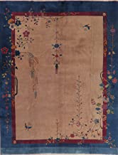 Antique Floral Chinese Art Deco Oriental Wool Area Rug Hand-Knotted 9x12 Carpet (11' 6'' x 9' 1'')