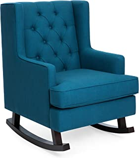 Best Choice Products Tufted Upholstered Wingback Accent Chair Rocker w/Wood Frame, Blue Teal
