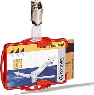 Durable 821803 Boite de 25 Porte-Cartes de sécurité ouvert avec Clip pour 2 Cartes Rouge