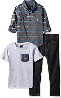 U.S. Polo Assn. Boys' Little Long Sleeve, T-Shirt and Pant Set
