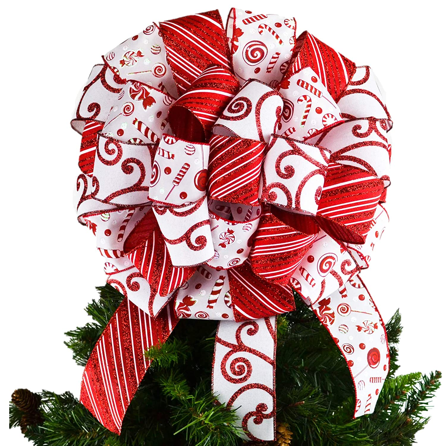 Regular discount Candy Cane Christmas Tree Bow Pres Topper Max 43% OFF