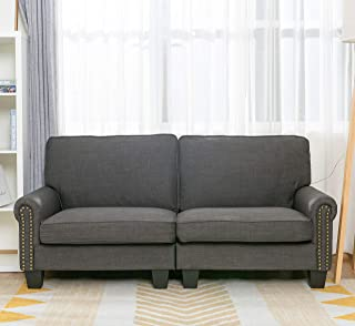 70 Inch Sofa for Living Room,Gray Upholstered Soft and Easily Assemble Couch and Sofa Loveseat,by LifeFair