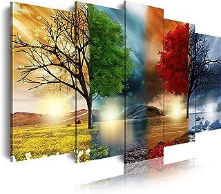 DekoArte - Cuadros Modernos Impresión de Imagen Artística Digitalizada   Lienzo Decorativo Para Tu Salón o Dormitorio   Estilo Paisaje Cuatro Estaciones del año �rboles Rojo   5 Piezas 150 x 80 cm