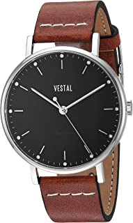 Vestal 'Sophisticate' Swiss Quartz Stainless Steel and Leather Dress Watch, Color:Brown (Model: SP42L04.LBWH)