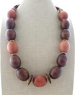 Collana in legno marrone e agata, collana etnica, gioielli contemporanei, bijoux moderni, creazioni artigianali, accessori...